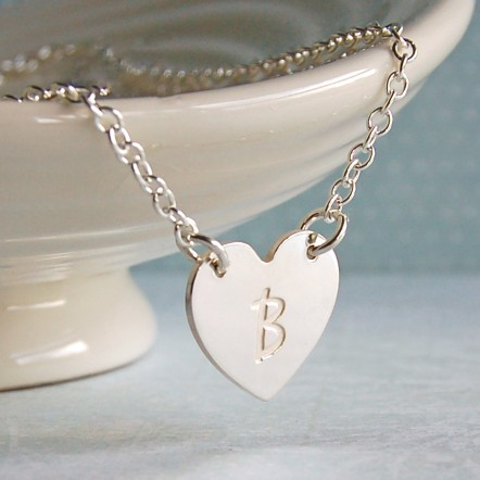 Personalised Silver Single Heart Pendant with Initial 5