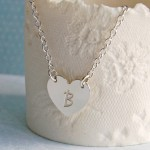 Personalised Silver Single Heart Pendant with Initial 6