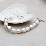 Silver Nugget Pearl Bracelet