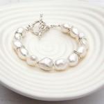 Silver Nugget Pearl Bracelet 2jpg