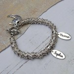 Silver Rings Bracelet Two Name Charms 1