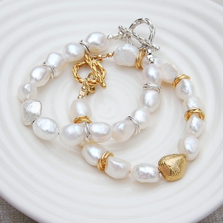 Silver and Gold Vermeil Nugget Pearl Bracelets