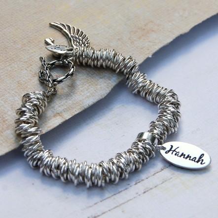 Sterling silver personalised rings bracelet 1