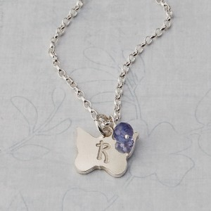 Girls Personalised Silver Butterfly Charm Necklace with Birthstone
