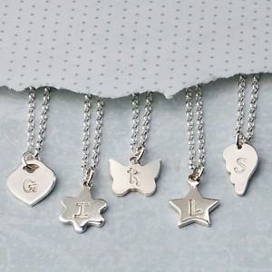 Girls Personalised Silver Charm Necklaces with Initials 3