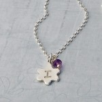 Girls Personalised Silver Flower Necklace with Initial and Birthstone