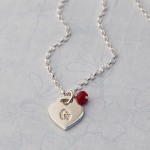 Girls Personalised Silver Heart Necklace with Birthstone Main