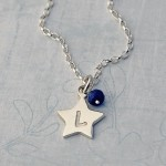 Girls Personalised Silver Star Charm Necklace with initials