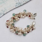 Handmade Pearl and Gemstone Leaf cluster bracelet 4