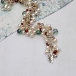 Handmade Pearl and Gemstone Leaf cluster bracelet 5