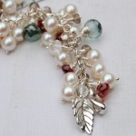 Handmade Pearl and Gemstone Leaf cluster bracelet 6