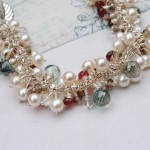Handmade Pearl and Gemstone Leaf cluster bracelet 7