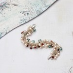 Handmade Pearl and Gemstone Leaf cluster bracelet 8