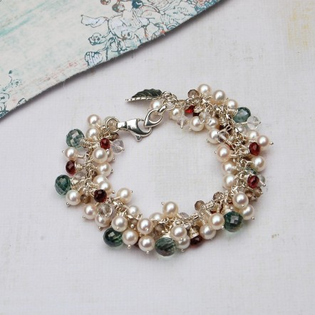 Handmade Pearl and Gemstone leaf cluster bracelet 1