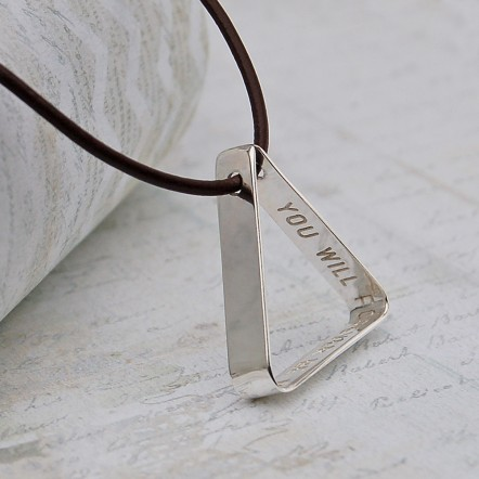 Mens Personalised Secret Message Silver Triangle Necklace 3