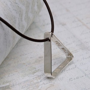 Mens Personalised Secret Message Silver Triangle Necklace