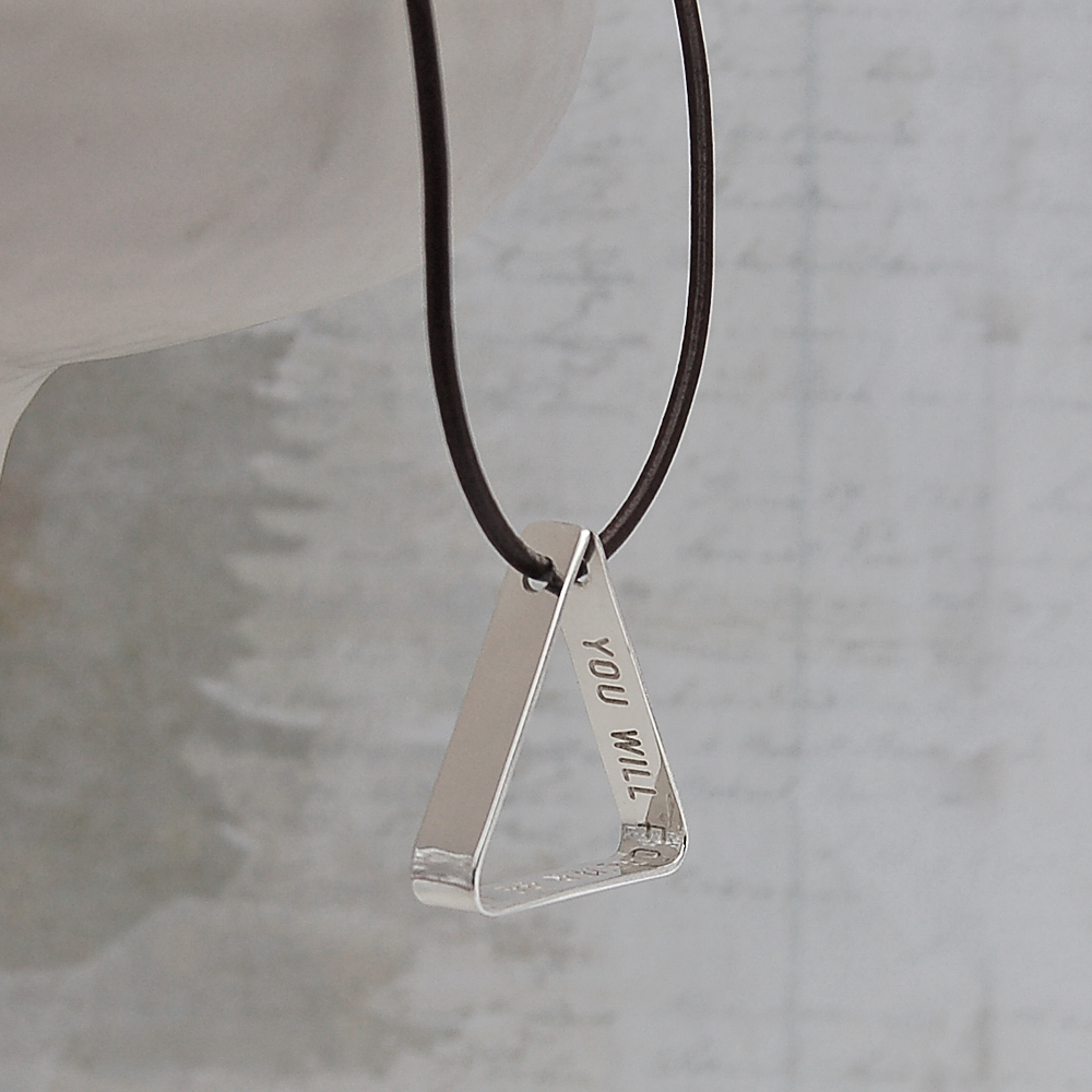 Mens Secret Message Silver Triangle Necklace Indivijewels
