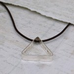 Mens Personalised Secret Message Silver Triangle Necklace 6