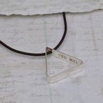 Mens Personalised Secret Message Silver Triangle Necklace 7