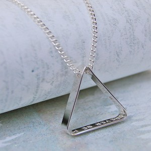 Mens Personalised Secret Message Silver Triangle Necklace on Chain
