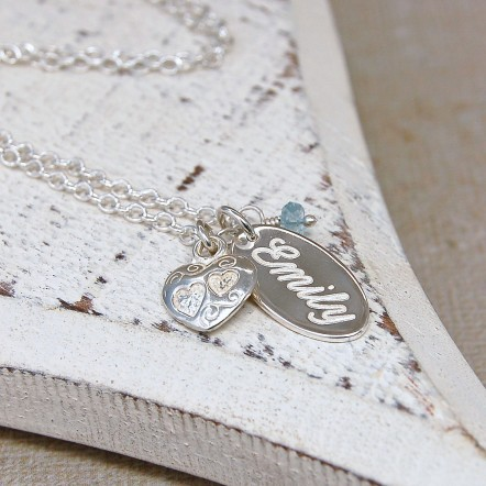 Personalised Silver Name Charm Necklace with Birthstone 1