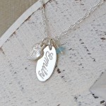 Personalised Silver Name Charm Necklace with Birthstone 4