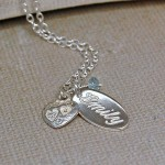 Personalised Silver Name Charm Necklace with Birthstone 5