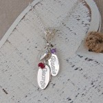 Personalised Silver Name Charms Necklace with Birthstones 5