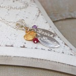 Personalised Silver Name Charms Necklace with Birthstones 7