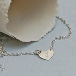 Girl's Personalised Silver Small Heart with Initial Necklace