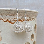 Silver Birds Nest Earrings 3