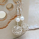 Silver Birds Nest and Pearl Earrings 2
