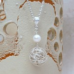 Silver Birds Nest and Pearl Necklace 1