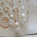Silver Birds Nest and Pearl Necklace and Earrings