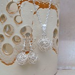 Silver Birds Nest and Pearl Necklace and Earrings 2