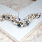 White Freshwater Pearl & Aquamarine Cluster Bracelet 1
