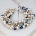 White Freshwater Pearl & Aquamarine Cluster Bracelet 2