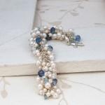 White Freshwater Pearl & Aquamarine Cluster Bracelet 4