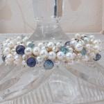 White Freshwater Pearl & Aquamarine Cluster Bracelet 5