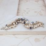 White Freshwater Pearl & Aquamarine Cluster Bracelet 6