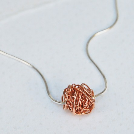 Entwined Beads in Rose Gold on Silver Snake Chain