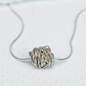Entwined Beads in Silver on Silver Snake Chain