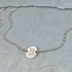 Girls Silver Disc Necklace with Initial 6
