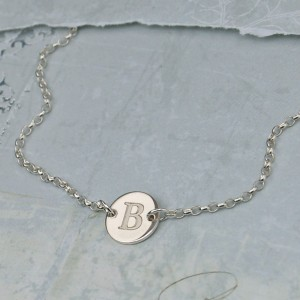 Girls Silver Disc Necklace with Initial