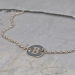 Girls Silver Disc Necklace with Initial 7