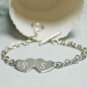 Personalised Silver Two Hearts with Initials Bracelet 3