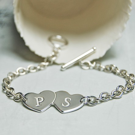 Personalised Silver Two Hearts with Initials Bracelet
