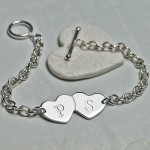 Personalised Silver Two Hearts with Initials Bracelet 5