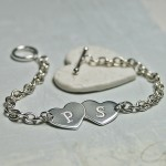 Personalised Silver Two Hearts with Initials Bracelet 6