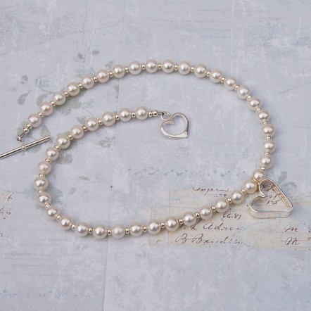 Sterling silver personalised secret heart and freshwater pearl necklace 3 copy